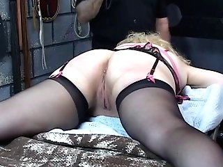 Big-chested, Matures Blonde Gets Her Arse Whipped In The Basement