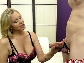 Cougar Julia Ann Makes Marionette Jizm On Her Stockings From Footjob
