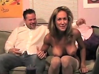 Sexy Blonde Mummy Oral Pleasure Footjob Spunk Feet