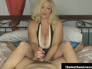 Big-titted Blonde Mummy Charlee Chase Strokes Your Man-meat In Sofa!