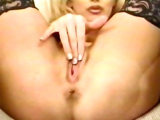 Masturbating Blonde Glamor Damsel Switches From Banana To Faux-cock