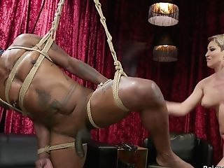 Big-bosomed Mom I´d Like To Fuck Hard Whips Black Slaveboy