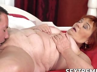 Granny Loves Railing A Youthful Stiff Schlong In Cowgirl Position