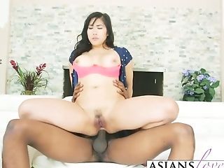 Asian Bombshell Pleased With Black Dick