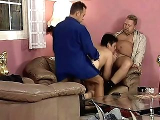 Gross Brief Haired Matures Superslut Gets Fucked By Two Chubby...