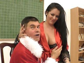 Bad Fellow In Santa Clause Garb Fucks Smoking Hot Chubby Bitch...