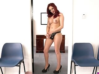Crimson Haired Chick Georgie Newman Plays With Belt Cock And Taunts...