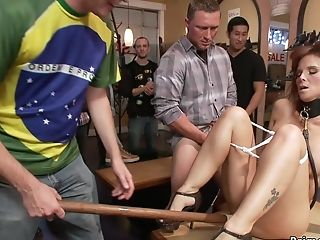 Buxomy Tits Housewife Group Fucking Disgraced In Public