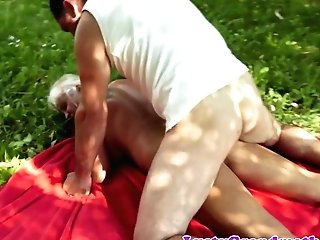 Huge-boobed Grandmother Pussyfucked In The Nature