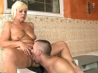 Blonde Granny Gets Drilled By Junior Stud