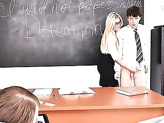Hard Blonde Milfie Prof India Summer Penalizes School Dude With A...