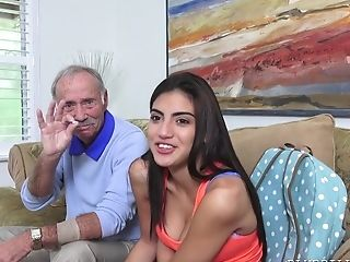 Old Man Tastes Sweet Slit Of Fresh Michelle Martinez