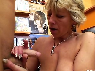 Sexy Blonde Matures Fucks Him In The Flick Store