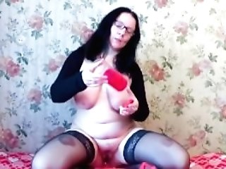 Woman With Big Tits Urinate In A Jar