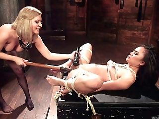 Aggressive Mistress Wearing Belt Dick And Corset Fucks Tied Up...