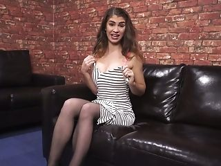 Juggy Chick Katie Louise Takes Off Brassiere And Tells Erotic Stories