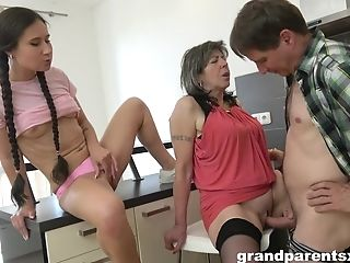 Hot Fuck-fest With Granny And Amoral Teenager Dame