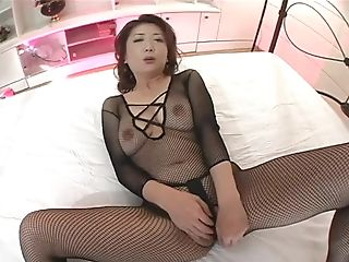 Japanese Mummy In Black Fishnets Getting Off