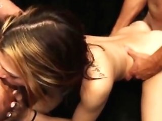 Spinner Woman In Group-fucked Hard By Five Guys And Creampied