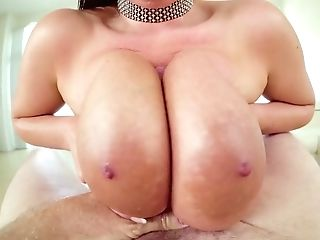 Mega Big-chested Hoochie Angela Milky Plays With Her Phat Mammories...