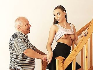 Daddy4k. Old Man Creams Nubile's Labia After Fucking It In...