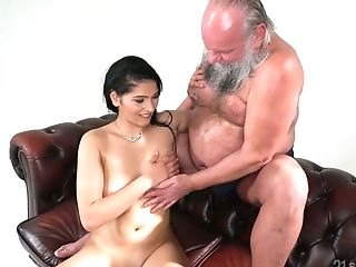 Old Fart Loves Fucking Eye Catching Seductress With Natural Breasts...