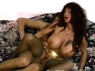 Dark-haired Cougar With Gigantically Gifted Boobies Fucked