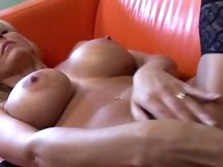 Pretty Brit Mom Mumsy Playing With Her Puss