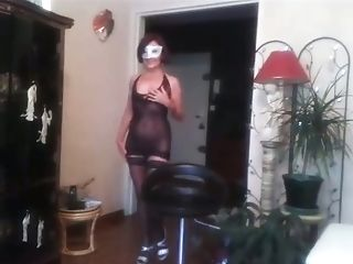 Decadent Titless Bitch In Black Stuff Was Dancing And Kittling Her...