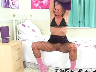 Brit Cougar Ellen Gets Revved On In Fishnet Pantyhose