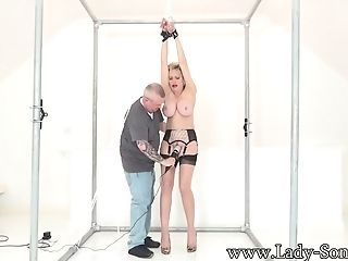 Lady Sonia Manacled And Taunted With A Electro-hitachi