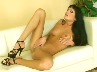 Sexy Dark Haired Wearing High Stilettos Drills Her Coochie With A...