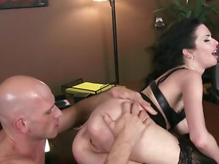 Raunchy Dark Haired Matures Bitch Gets Torn Up By Her Bald Paramour