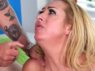 Buxom Matures Makes Love With Tattooed Boy On The Sofa