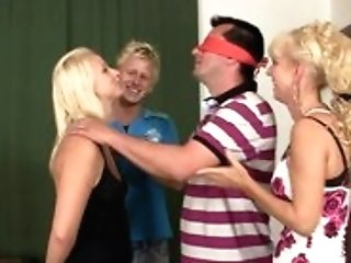 Hilarious Game With Blonde Teenager Leads Family 3some