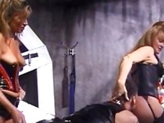 Two Bitchy Blonde Dominos Have Some Wild Joy With A Horny Dude