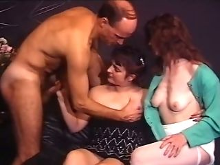 Two Black-haired Wicked Bi-otches Share One Matures Dude For Threesome