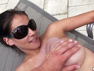 Big-boobed Dark-haired Mischel Lee Gets Banged On The Poolside