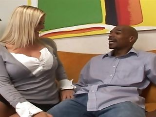 Voluptuous Blonde Chick Eventually Practices The Interracial Pounding