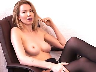 Lewd Bookkeeper Hannah Z Tells Erotic Stories In Underwear And...