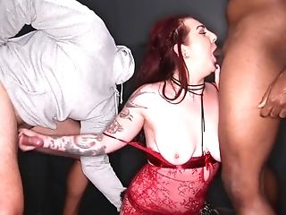 Inexperienced Buxomy Mega-slut Blowbangs And Gets Off On...