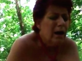 Chubby Ginger-haired Granny Outdoor Deep Throat Missionary