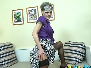 Old Woman In Stockings Is Frolicking Her Fuck-a-thon-thirsty Hairy...