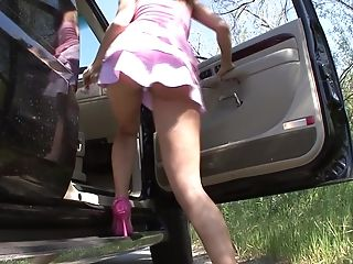 Hitch Hiking Cougar Gets Picked Up And Demolished By Big Boner!