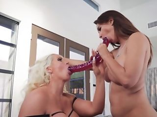Cougars And Their Big Dual Faux-cock Have Girl/girl Bang-out