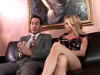 Blonde Cougar Wants Fluid Pie Finish In Leather Sofa Romp