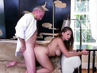 Old Man Gobbles Damsels Coochie And Latina Old Fellow