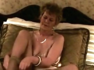 Old Classy Super-bitch Fucks Herself With Pantyhose