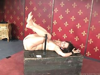 Brown-haired Milky Lady Restrained On The Metal Pipes Nude