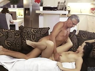 Daddy4k. Horny Brown-haired Extracts All Enthusiasm On Bf's...